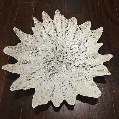 Heavy Silver Plated Glass Leaf Plate Unbranded Beautiful