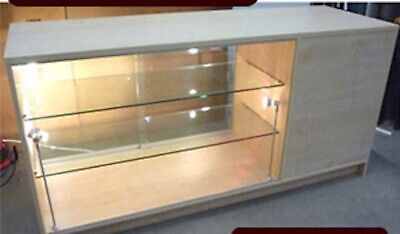 Large Glass Fronted Wooden Display Cabinet Retail Reception Desk Till Point
