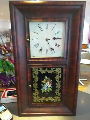 LARGE WALL SHELF CLOCK New England ANTIQUE Jerome OGEE OG New Haven Connecticut
