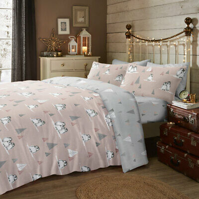 Fusion Fluffy Penguin Christmas Reversible Brushed Cotton Duvet Cover Set, Blush