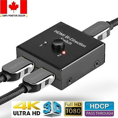 4K Bi-Direction HDMI 2.0 Cable Switch Switcher Splitter Hub HDCP 2x1 1x2 In Out
