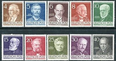 GERMANY(BERLIN)-1952-53 Famous Berliners Set of 10 Values Sg B91-B100 LIGHTLY MM