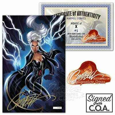 House Of X 5 NYCC 2019 J Scott Campbell Glow In The Dark Storm Variant Signed NM