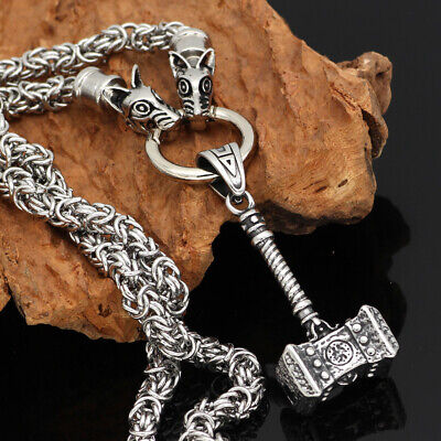 Men Nordic viking odin wolf head with thor hammer Mjolnir pendant necklace