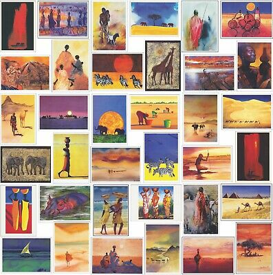 24 Blank Artistic African Greeting Cards Birthdays Modern Art or Small Posters