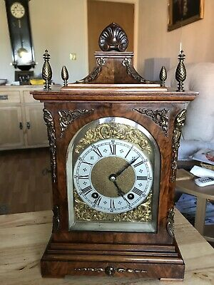 stunning Walnut  Cased Lenzkirch Ting Tang Bracket Clock