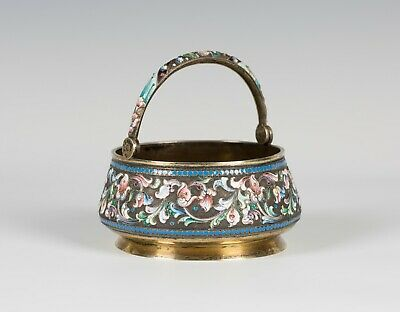 Russian Silver Gilt and Cloisonné Enamel Sugar Basket