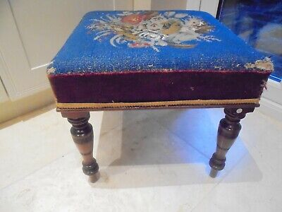 Large antique Victorian square footstool, beaded seat, turned legs, Sopwith