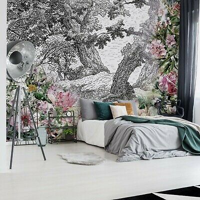 Vintage Floral Design Photo Wallpaper Wall Mural Fleece Easy-Install Paper