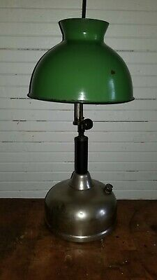 Antique Coleman Quicklite lamp- Green And White Porcelian Shade. Immaculate