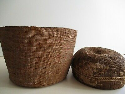 Antique Native American Indian Basket Lot Of 2 As Is Large Northwest Coast ?