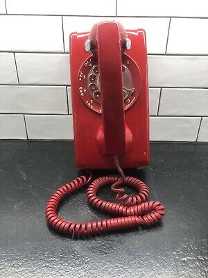 Vintage Bell System Western Electric Red Rotary Dial Wall Phone Telephone 554BMP
