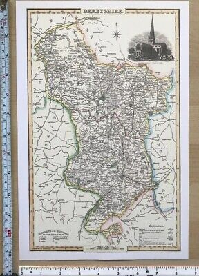Old Victorian Map of Derbyshire, UK 1840 Pigot: Historical, Antique: Reprint