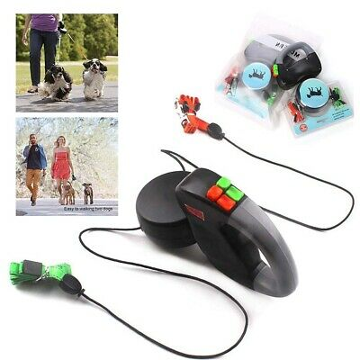 Retractable Pet Dog Double Lead Leash Tangle Dual 2Dog 50 Pounds Per Dog Durable