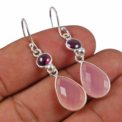 Faceted-Rose Quartz, Rubellite Solid 925 Sterling Silver Earring Jewelry AE-2844