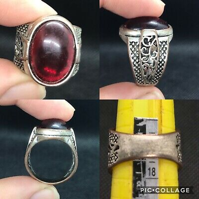 wonderful unique post medieval old Red garnet stone ring