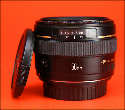 Canon EF 50mm F1.4 USM Autofocus Prime Lens With Front & Rear Lens Caps