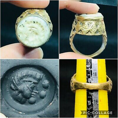 Excellent rare Ancient Greek emperor intaglio brass ring