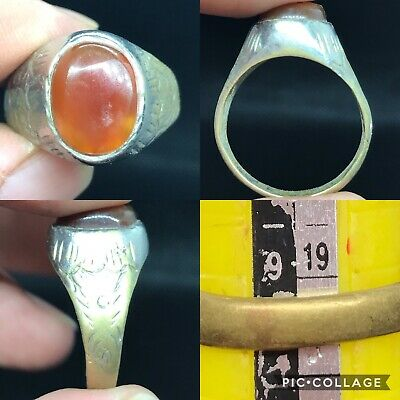 Lovely wonderful old unique mix silver agate ring