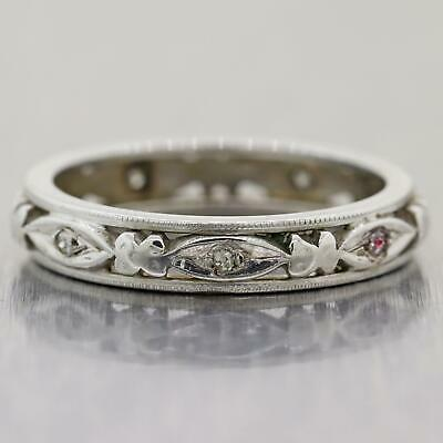1930's Antique Art Deco 14k White Gold Diamond Wedding Band Ring