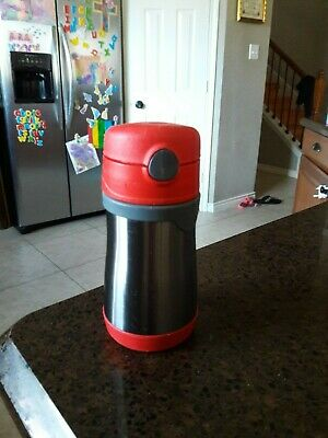 THERMOS FOOGO Vacuum Insulated 10oz Straw Bottle Silver/Red