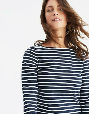 Joules Womens Harbour Jersey Top Shirt in NAVY CREAM STRIPE Size 8