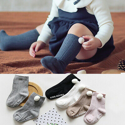 Newborn  Boy Girl  Baby Socks Anti Slip Pompom Ball  Knit Knee High Socks
