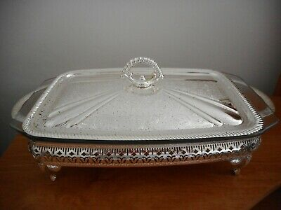Vintage Silverplated Lidded Serving Dish With Pyrex Insert