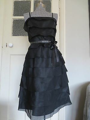Oasis Party Prom Cocktail beaded black strapless organza tiered dress 1950s, s.8