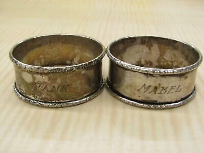 RLB Sterling Silver Vintage Pair of Napkin Ring Holders Engraved Names Round