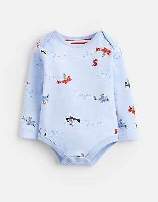 Joules Baby Snazzy Jersey Printed Bodysuit in SKY BLUE FLYING BEARS Size 9min12m