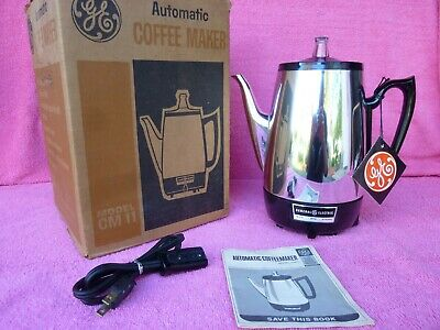 Vtg New Unused 1970s General Electric Chrome 8-Cup Percolator Coffee Pot Maker