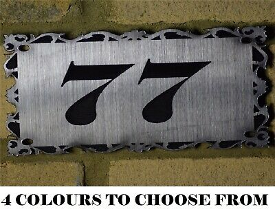 Contemporary Engraved Personalised Slate House Door Gate Number Sign Plaque Posh