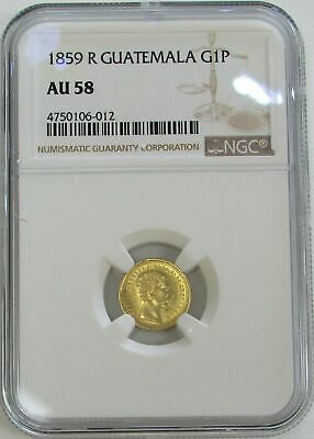 1859 R Gold Guatemala Peso Coin Ngc About Unc 58