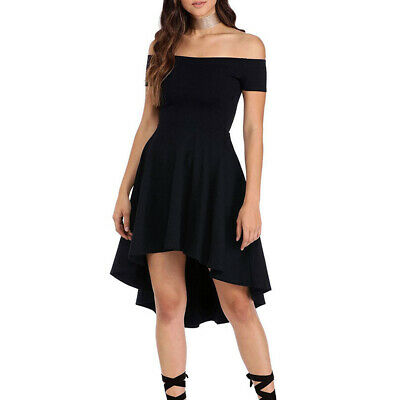 Women Dress Ladies Party Summer Off Shoulder Sexy Fashion Dress Solid Swing