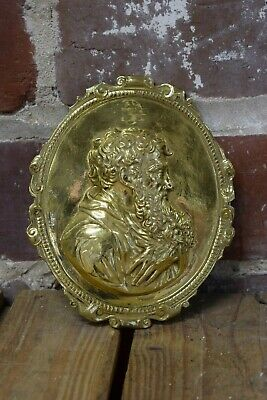Vintage Brass Furniture Medallion with Portrait of a Bearded Man