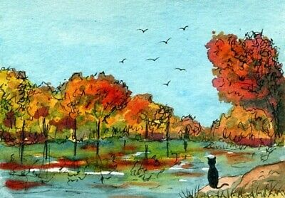 ACEO Original Watercolor-Ink Painting Cat Lake Trees