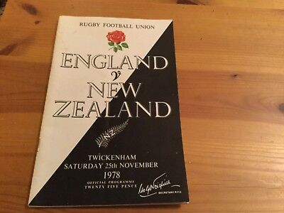 England v. New Zealand Rugby Union Programme 1978