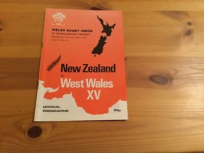 New Zealand  v West Wales XV 1978 Rugby Union Programme