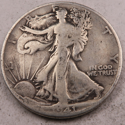1941-D Walking Liberty Half Dollar // Fine-VF // 90% Silver (H132)