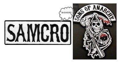 2  Sons Of Anarchy Patches Grim Reaper & Samcro  Biker Roadgear - Iron Or Sew On