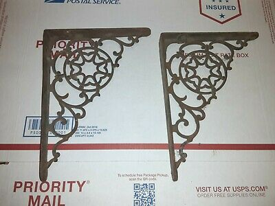 Victorian BRACKETS - Wall / Shelf Antique Vintage Decorative Cast Iron Pair