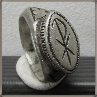 ** CHI-RHO ** Ancient Silver Legionary Roman Ring **AMAZING **