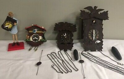 Old Vintage Lot Of German Cuckoo Clocks Untested German Black Forest Coo Cool