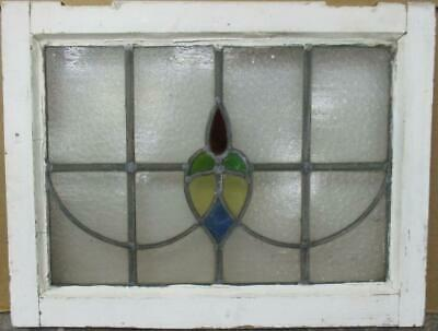 "OLD ENGLISH LEADED STAINED GLASS WINDOW Pretty Sweep Design 21.25"" x 16.25"