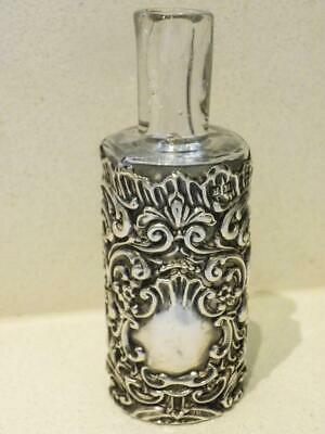 Antique Sterling Silver Overlay Crystal Perfume Bottle HM Birmingham 1901