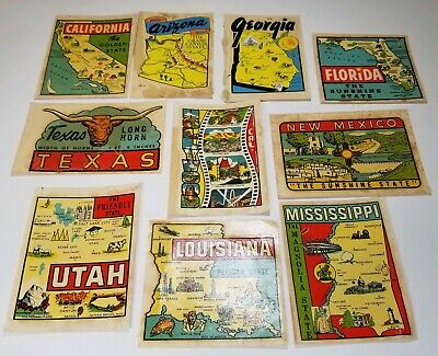 Vintage State & City Travel Transfer Stickers-Decals/Rare Hollywood & more-LOOK!