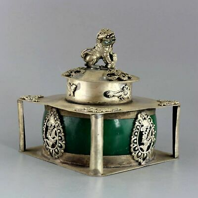 Collect Old Tibet Silver Inlay Agate Carved Lion & Dragon & Phenix Noble Censer