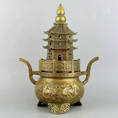 Collect Ming Dynasty Old Bronze Hand-Carved Auspicious Delicate Turriform Censer
