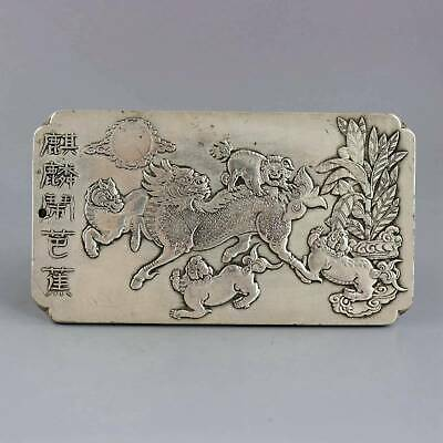 Collect Old Tibet Silver Carve Myth Kylin & Banana Tree Exorcism Amulet Pendant